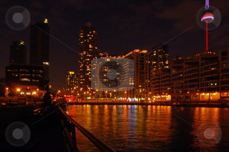 Toronto water front stock photo, Toronto water front in the night by Pavel Cheiko