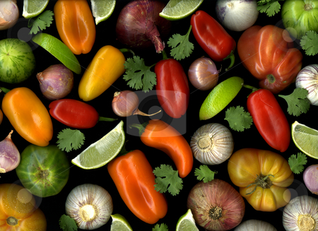 Salsa stock photo, Fresh organic ingredients for making hot and spicy salsa by Christian Slanec