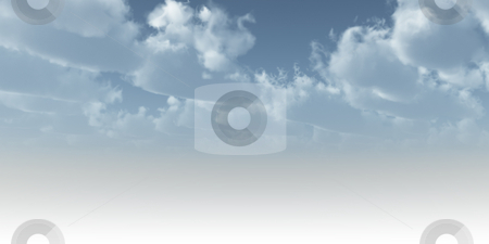 Heaven stock photo, Cloudy blue sky without horizon - 3d illustration by J?