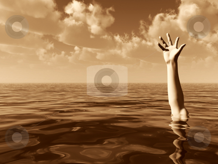 Help stock photo, Arm on water landscape with cloudy sky - 3d illustration by J?