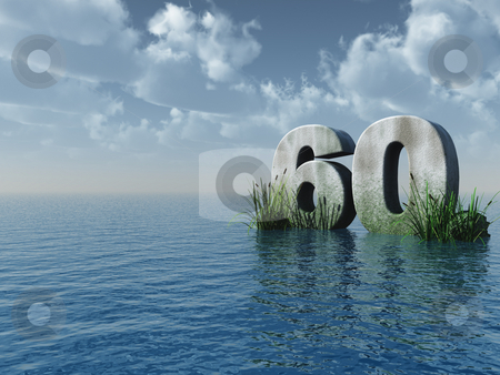 Sixty stock photo, The number sixty in stone on the ocean - 3d illustration by J?