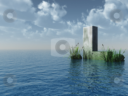 Letter L stock photo, Letter L rock in water landscape - 3d illustration by J?