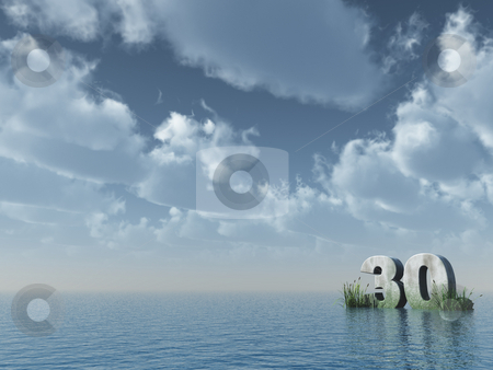 30 - thirty stock photo, The number thirty in stone on the ocean - 3d illustration by J?