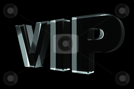 Vip stock photo, Glass VIP letters on black background - 3d illustration by J?