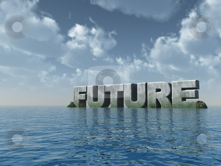 Future stock photo, The word future at the ocean - 3d illustration by J?