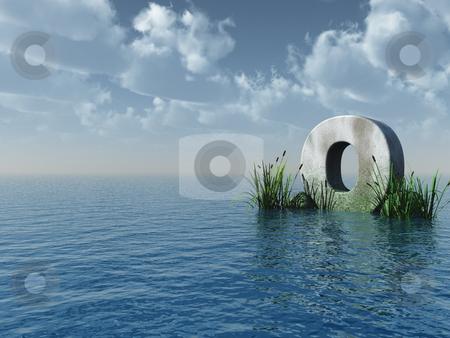 Letter O stock photo, Letter O rock in water landscape - 3d illustration by J?