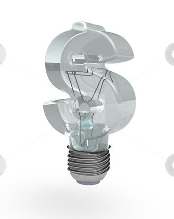 Dollar bulb stock photo, Light bulb with dollar sign glass - 3d illustration by J?