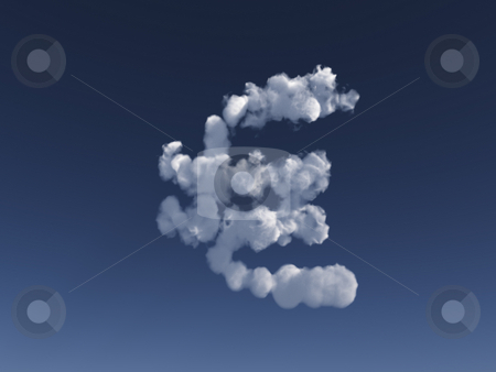 Euro clouds stock photo, Euro sign clouds in the blue sky - 3d illustration by J?