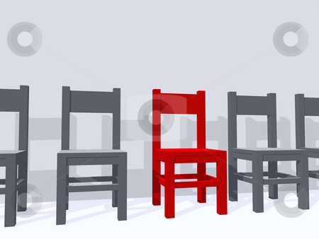 Individual place stock photo, Row of chairs, one in red - 3d illustration by J?