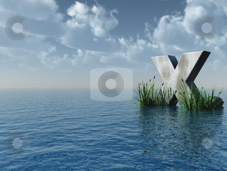 X rock stock photo, Letter X rock in water landscape - 3d illustration by J?