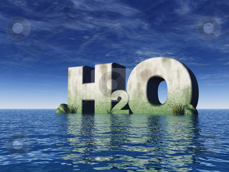 H2o stock photo, H2O rock at the ocean - 3d illustration by J?