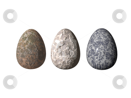 Eggs stock photo, Three stone eggs on white background - 3d illustration by J?