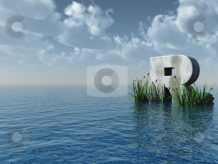 Letter R stock photo, Letter R rock in water landscape - 3d illustration by J?