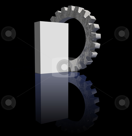 Blank box and gear stock photo, Blank packing and gearwheel on black background - 3d illustration by J?