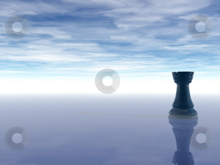 Chess rook stock photo, Black chess rook on cloudy background - 3d illustration by J?