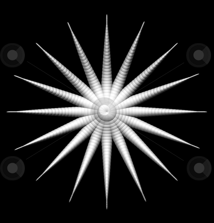 Star stock photo, Abstract organic star form on black background - 3d illustration by J?