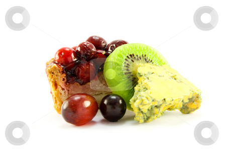 Pork Pie with Kiwi, Grapes and Blue Cheese stock photo, Slice of pork pie with kiwi, grapes and blue cheese with clipping path on a white background by Keith Wilson