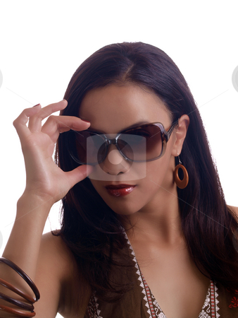 Young hispanic woman hand on sunglasses portrait stock photo, Young latina woman with hand on sunglasses portrait by Jeff Cleveland