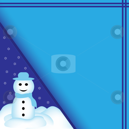Snowman Cartoon on Blue Background stock vector clipart, Snowman stood in a pile of snow, set on a blue background with falling snowflakes. Plenty of space for text. Ideal for a christmas card. by toots77