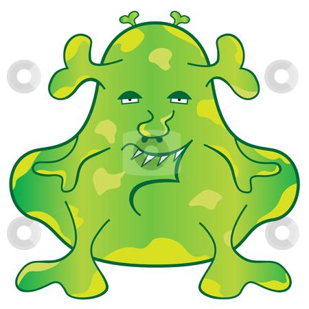 Green Monster Cartoon Character stock vector clipart, Green blob monster with a weird evil face cartoon character by toots77