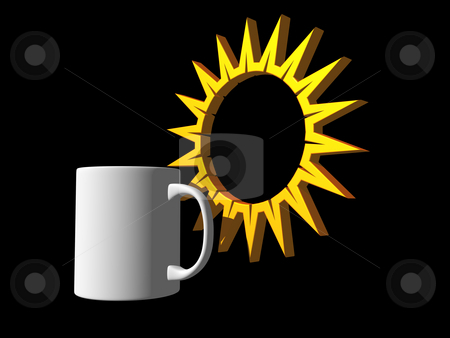 Morning stock photo, Coffee mug and simple sun symbol - 3d illustration by J?