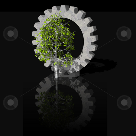 Birch and gearwheel stock photo, Gearwheel and birch tree on black background - 3d illustration by J?