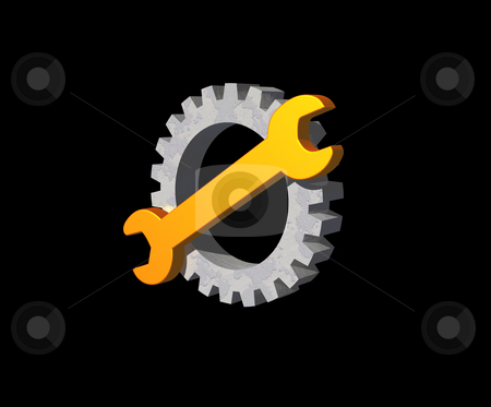 Wrench gear logo stock photo, Wrench and gear logo on black background - 3d illustration by J?