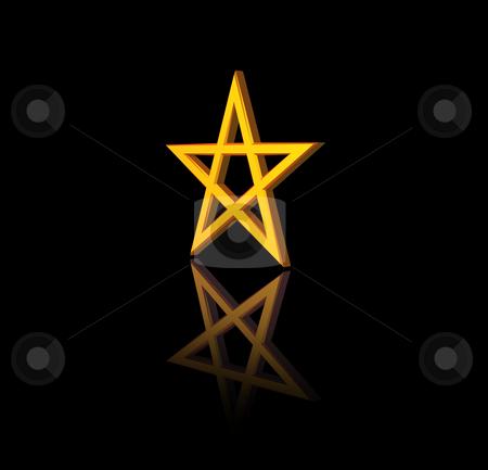 Pentagram stock photo, Golden pentagram on black background - 3d illustration by J?