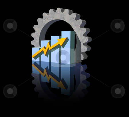 Industry report stock photo, Business graph and gear on black  background - 3d illustration by J?