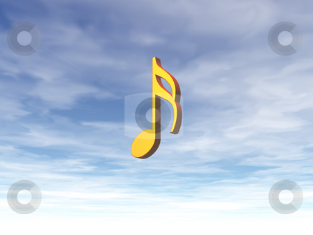 Music stock photo, Golden note on cloudy sky - 3d illustration by J?