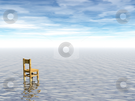 Wait stock photo, Chair at water landscape - 3d illustration by J?