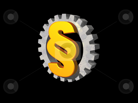 Industry law stock photo, Paragraph symbol and gearwheel on black background - 3d logo illustration by J?