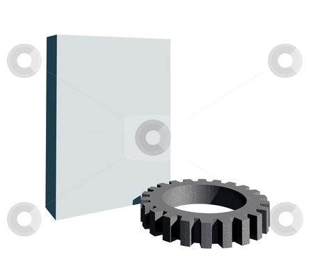 Gearwheel stock photo, Blank packing and gearwheel on white background - 3d illustration by J?