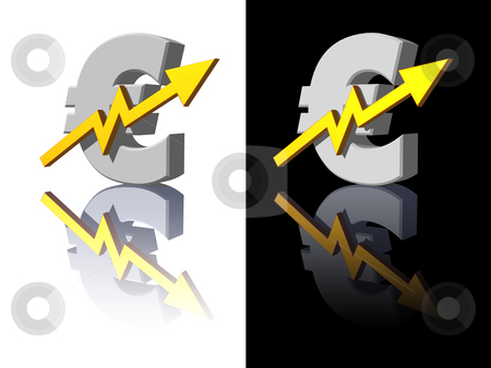 Euro report stock photo, Euro symbol with business curve on white and black background - 3d illustration by J?