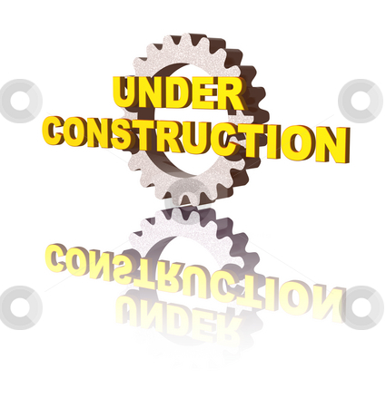 Under construction stock photo, Under costruction text and gearwheel on white background - 3d illustration by J?