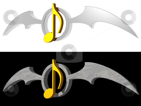 Gothic melody stock photo, Golden note and batwings logo on white and black background - 3d illustration by J?