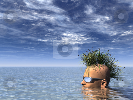 Camouflage stock photo, Human head with grass mohawk hair in water - 3d illustration by J?