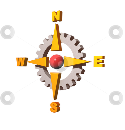 Gear compass stock photo, Gear compass logo on white background - 3d illustration by J?