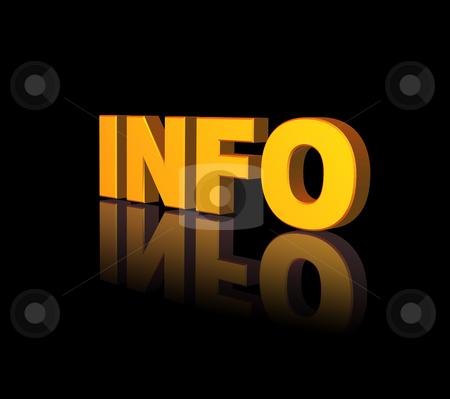Info stock photo, Golden info text on black background - 3d illustration by J?