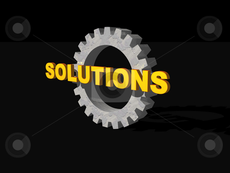 Solutions stock photo, Solutions text and gearwheel on black background - 3d illustration by J?