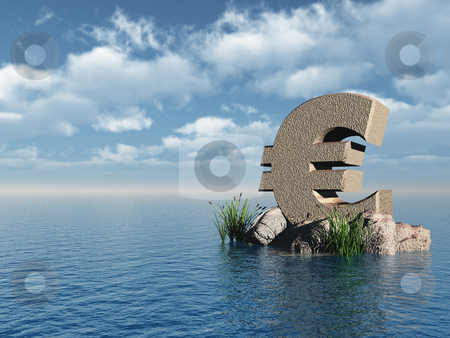 Euro monument stock photo, Euro symbol monument at the ocean - 3d illustration by J?