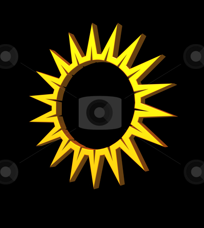 Sun stock photo, Simple sun symbol on black background - 3d illustration by J?