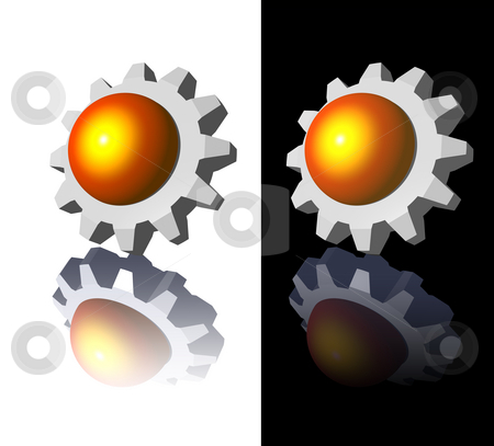 Gear logo stock photo, Gear-ball logo on white and black backgrounds - 3d illustration by J?