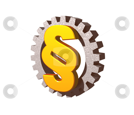 Industry law stock photo, Golden paragraph symbol and gearwheel on white background - 3d illustration by J?