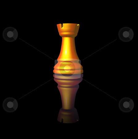 Chess stock photo, Golden chess-tower on black background - 3d illustration by J?
