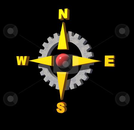Navigate stock photo, Gear compass logo on black background - 3d illustration by J?