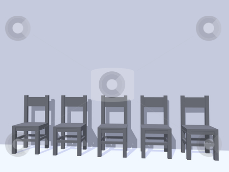 Row of chairs stock photo, Row of five grey chairs  - 3d illustration by J?