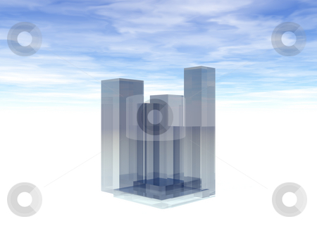 Abstract skyline stock photo, Abstract glass skyline and cloudy sky - 3d illustration by J?