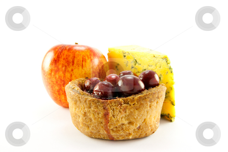 Pork Pie, Red Apple and Slice of Blue Cheese stock photo, Pork pie with cranberry top with a red apple and slice of blue cheese with clipping path on a white background by Keith Wilson