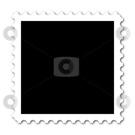 Stamp stock photo, Square stamp with copy space on white background by Henrik Lehnerer